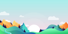 Mountains And Green Hills Landscape, Horizontal Nature Background. Vector Cartoon Illustration Of Summer, Spring Morning