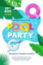 Pool Party Poster Or Banner Design Template. Vector Flat Cartoon Illustration. Summer Weekend And Events Outdoor Leisure