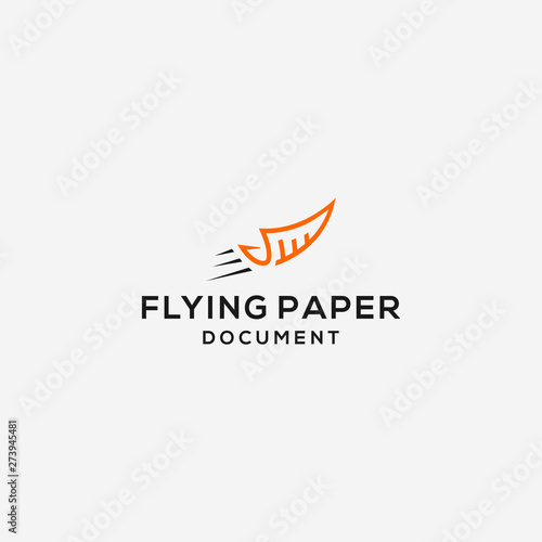 Obraz na płótnie fly paper document logo illustration vector icon download