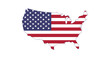 Made in USA, US flag map silhouette. Vector illustration isolated on white background.