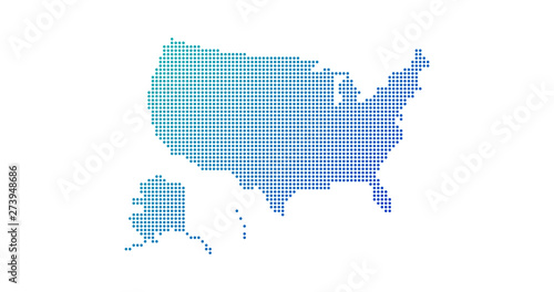 Fotografía  Dotted gradient USA map for backgrounds, brochures web