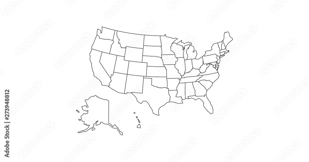 Fototapety, obrazy: black thin line usa map contour. education infographic element. stroke flat style design. Vector illustration isolated on white background