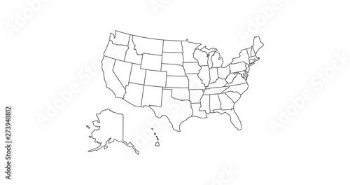 Fototapeta black thin line usa map contour. education infographic element. stroke flat style design. Vector illustration isolated on white background obraz