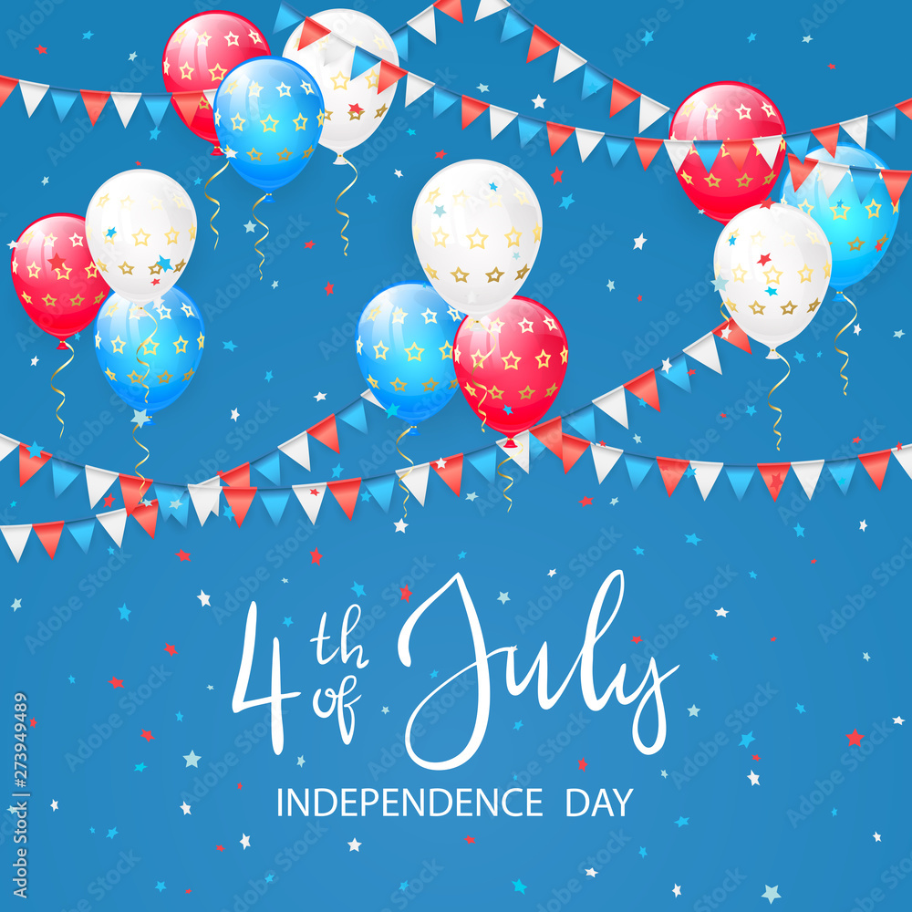 Fototapety, obrazy: Balloons with stars on blue Independence day background