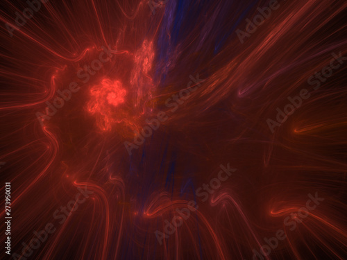 Red Fractal Spiral Background Image, Illustration - Infinite repeating spiral pattern, vortex of geometry. Recursive symmetrical patterns compressed and twisted into a central focal point.