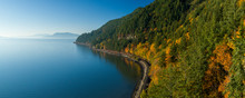 Samish Bay WA Chuckanut Drive Aerial Sunny Autumn Day Train Tracks Along Water Coast San Juan Islands