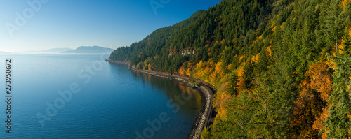 Samish Bay WA Chuckanut Drive Aerial Sunny Autumn Day Train Tracks Along Water C Fototapet
