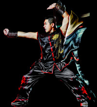 Whushu Chinese Boxing Kung Fu Hung Gar Fighter Isolated Man Isolated On Black Background With Speed Light Painting Effect Motion Blur