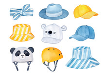 Lovely Collection Of Summertime Protective Headgear And Accessories For Summer Holiday Vacations And Active Outdoor Rest. Hand Painted Watercolour Drawing On White Background, Cutout Clipart Elements.