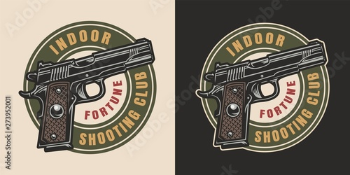 Photo Vintage military colorful logotype