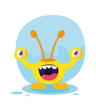 Yellow Monster Cartoon Design Icon Vector Ilustration