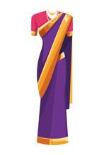 Indian Woman Dress Icon Cartoon