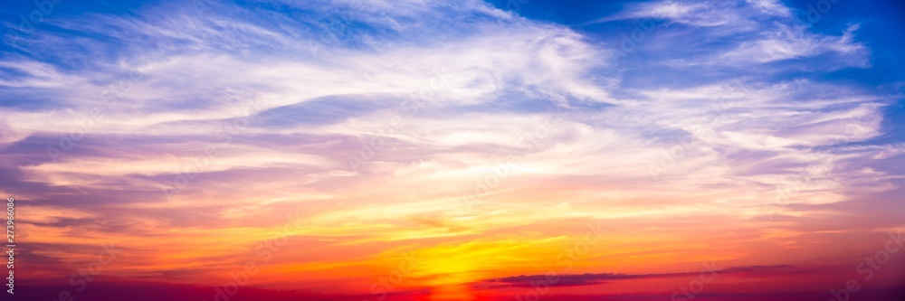 Fototapety, obrazy: Colorful Banner Of Peaceful Cirrus At Sunset