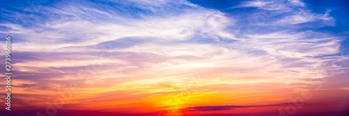 Colorful Banner Of Peaceful Cirrus At Sunset