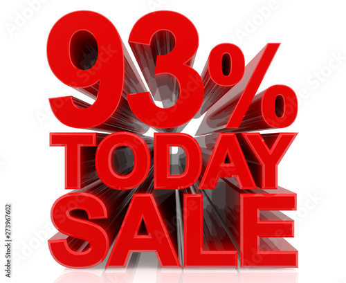 Valokuva  93% TODAY SALE word on white background 3d rendering