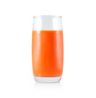 Closeup glass of fresh carrot juice isolated on white background, healthy diet food drink
