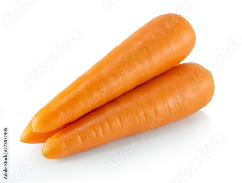 Fresh carrot isolated on white background, healthy diet food drink Poster Mural XXL