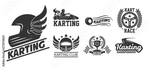Karting extreme driving sport isolated icons helmet with wings
