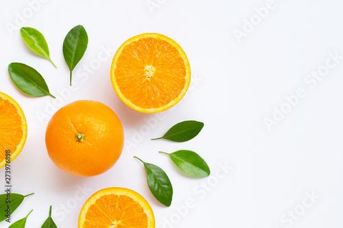 Fresh orange citrus fruit with leaves isolated on white background Fototapeta