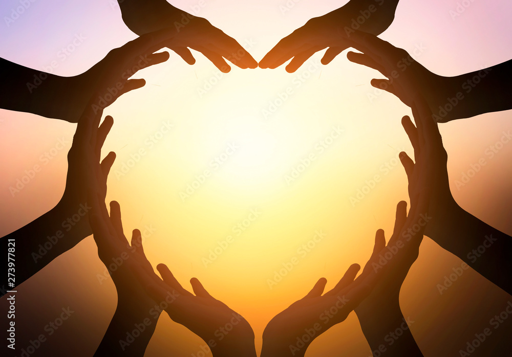 Fototapety, obrazy: International Day of Friendship concept: hands in shape of heart on blurred  background