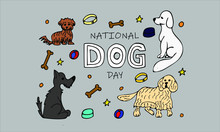 Hand Drawn Card 'national Dog Day'-01 Colorful