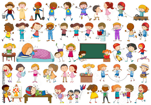 Canvas Prints Kids Set of doodl character