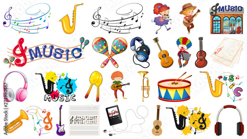 Fotobehang Kids Set of music instrument
