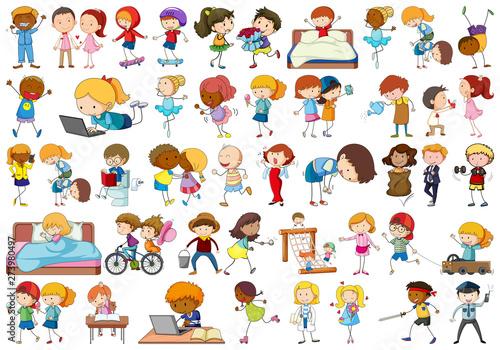 Ingelijste posters Kids Set of doodle character