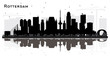 Rotterdam Netherlands City Skyline Silhouette with Reflections and Black Buildings Isolated on White.