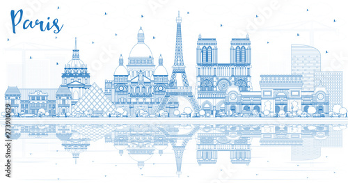Outline Paris France City Skyline with Blue Buildings and Reflections Wallpaper Mural