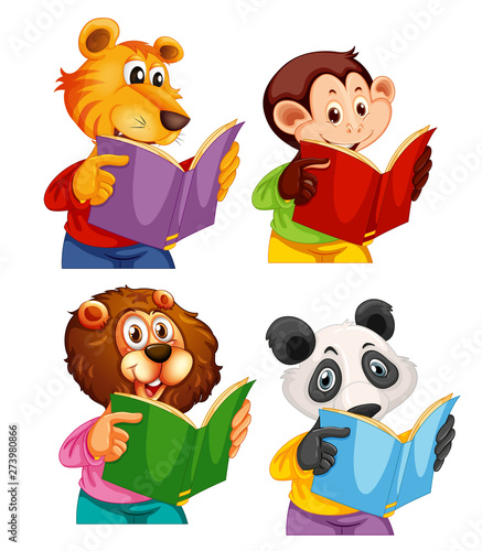 Fotobehang Kids Set of animal reading book