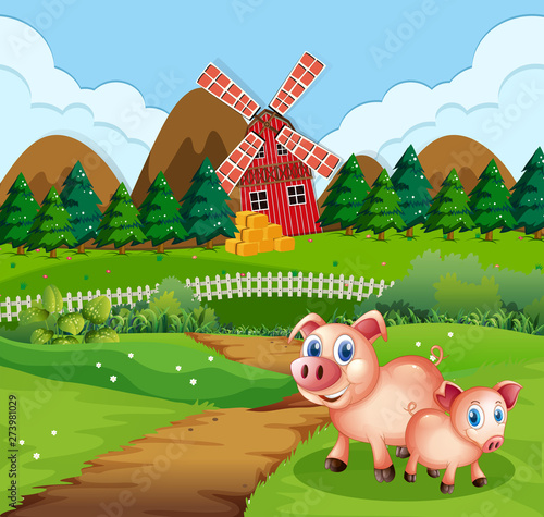 Fotobehang Kids Pig at farmland scene