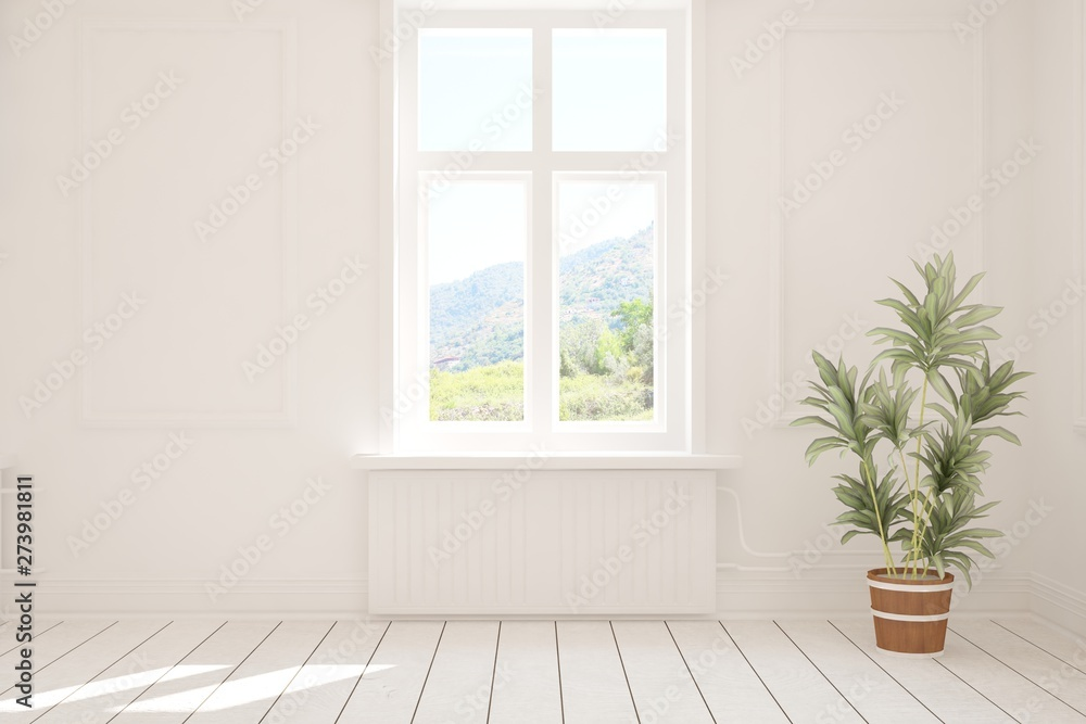 Fototapety, obrazy: Stylish empty room in white color with summer landscape in window. Scandinavian interior design. 3D illustration