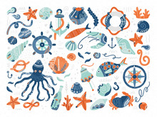 Vector Collection Of Hand Drawn Marine Symbols And Creatures In Scandinavian Style.