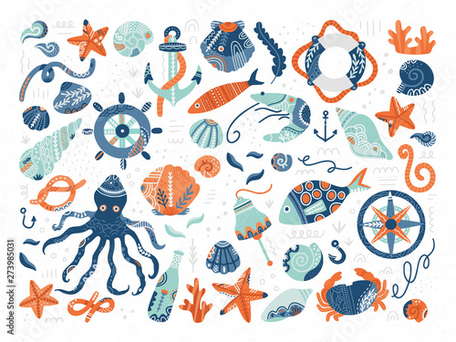 Fotografering  Vector collection of hand drawn marine symbols and creatures in scandinavian style
