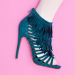 canvas print picture Women's shoes heels. Stylish. Flat lay minimal art