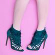 canvas print picture Women's shoes fashion heels. . Flat lay minimal art
