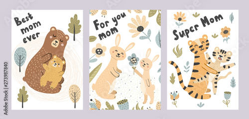 Mother's day cards collection. Adorable postcards with cute animals - mother and babies