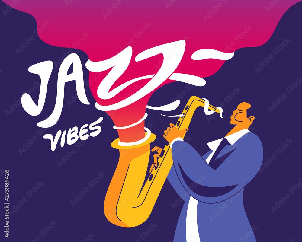 Fototapety, obrazy: Jazz vibes. Saxophone player with funky headline.