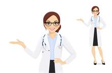 Female Doctor Presenting Something Isolated Vector Illustartion