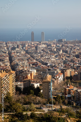 Photo Views of the city of Barcelona and the Mediterranean sea