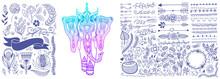 Hand Drawing Floral Design Ele...
