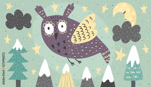 Baner z fantastyczną sową latającą w nocy