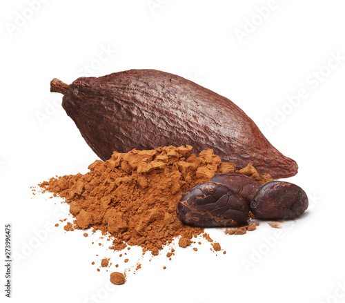 Pinturas sobre lienzo  Cacao beans and powder isolated