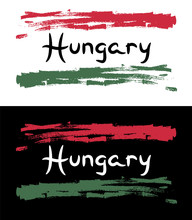 Hungary Flag Sketch With Color Pencil Swatch Grunge Vector Illustration