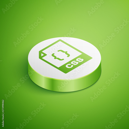 Isometric CSS file document icon  Download css button icon isolated