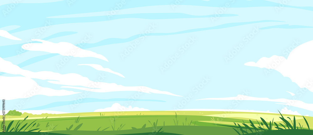 Fototapety, obrazy: Big panorama of green lawn, summer sunny glades with field grasses and blue sky, travel landscape illustration