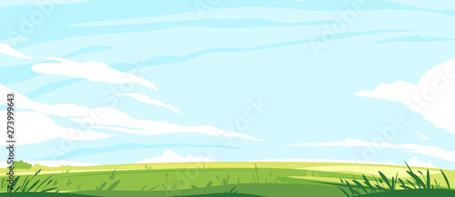 Big panorama of green lawn, summer sunny glades with field grasses and blue sky, travel landscape illustration - 273999643