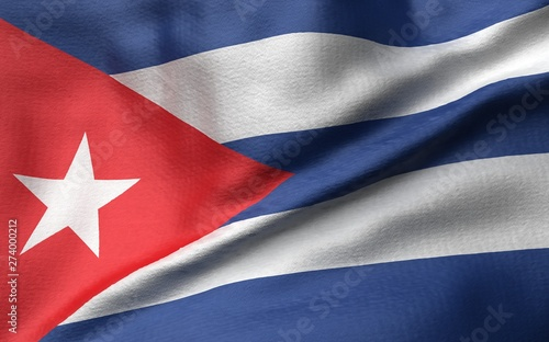 3D Illustration of Cuba Flag Wallpaper Mural