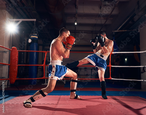 Fotomural Two professional sportsmen boxers exercising kickboxing in the ring at the sport
